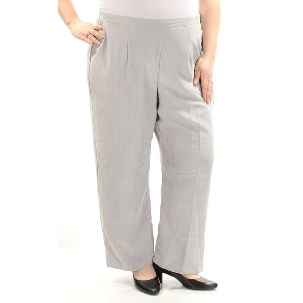 e103cba08ba967 Shop ALFRED DUNNER $52 Womens New1016 Gray Faux Suede Straight leg Pants  22W Plus B+B - Free Shipping On Orders Over $45 - Overstock - 21365812