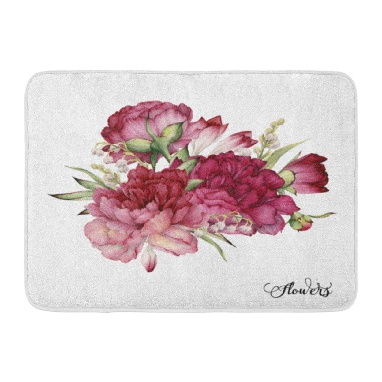 Flower Bouquet Of Peonies Watercolor For Wedding Birthday Holiday And Summer Vintage Doormat Floor Rug Bath Mat Multi Overstock 31776424