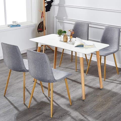 VECELO Office Chairs Fabric Cushion Seat Back Chairs Modern Style (Set of 4)