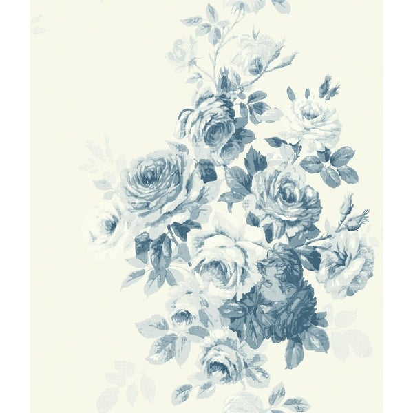 Shop York Wallcoverings ME153 Tea Rose 56 Sq. Ft. Floral Pre-Pasted Surestrip Wallpaper from the Magnolia Home Vol. II Collection - Free Shipping Today ...