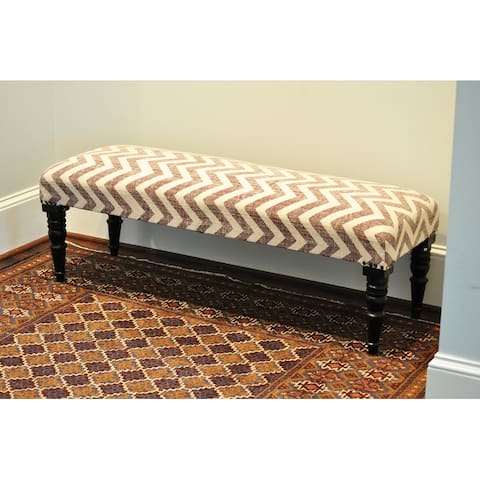 "Handmade Cotton Upholstered Wood Bench (India) - 48"" L x 16"" W x 16"" H"