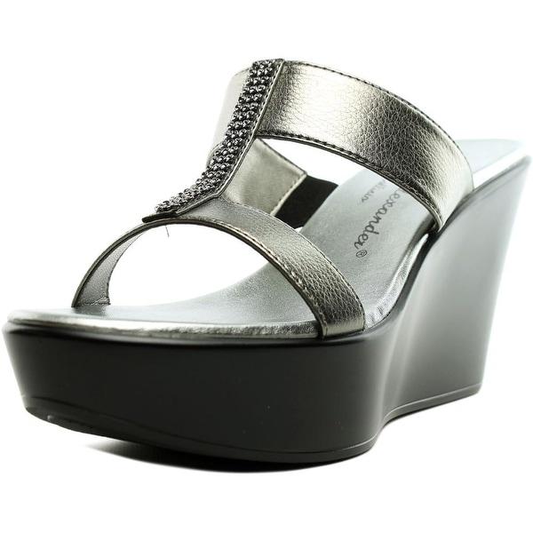 Athena Alexander Pinky Women Open Toe Synthetic Gray Wedge Sandal
