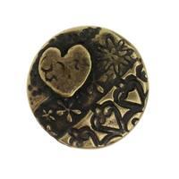 TierraCast Button, Amor Round 16.5mm, 1 Piece, Brass Oxide Finish