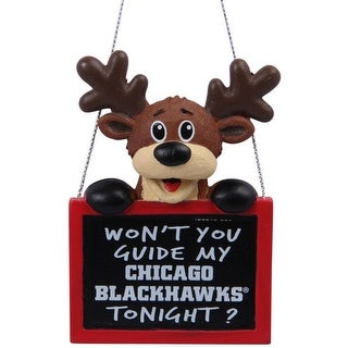 Chicago Blackhawks Reindeer Sign Ornament