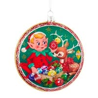 "4"" Retro Elf and Reindeer Glittered Christmas Glass Disc Ornament"