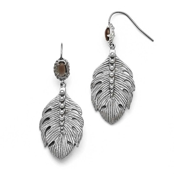 Chisel Stainless Steel Polished Smokey Quartz Feather Earrings
