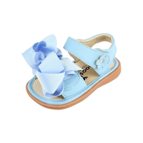 Mooshu Trainers Little Girls Blue Squeaky Cute Bow Strap Sandals