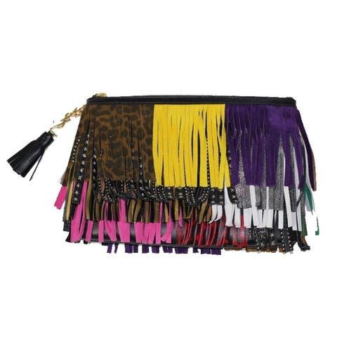 Saint Laurent Joulie Pouch Multicolor Leather Tassel Fringes 403418 CWU21