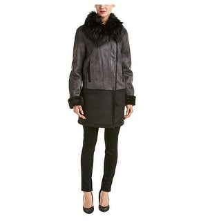 T Tahari Shearling Colorblock Coat