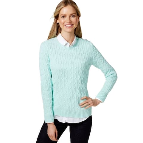 Charter Club Women's Cable-Knit Pullover Sweater ( Mint Kiss, PS) - Mint Kiss - P/SM