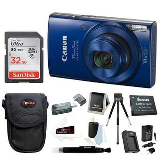 Canon PowerShot ELPH 190 IS 20 MP Digital Camera (Blue) w/ 32GB Accessory Bundle