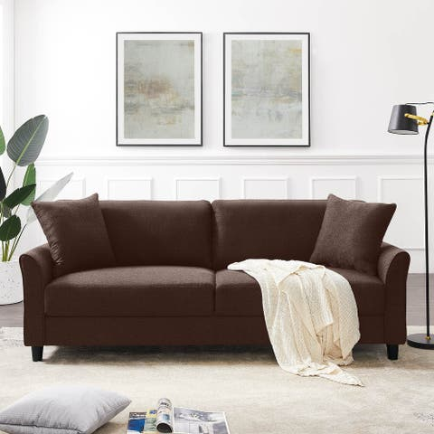 85'' Sofa Couch Mid-Century Upholstered Sofa Linen Fabric