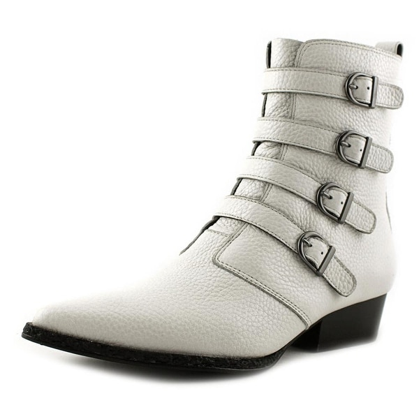 Calvin Klein Jeans Kitty Women Pointed Toe Leather White Mid Calf Boot