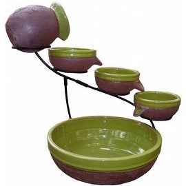 Smart Solar Solar-Powered 4-Tier Cascading Fountain, Kiwi/Rustic Brown 23963R01