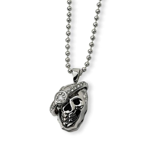 Chisel Stainless Steel Skull with Diamond Necklace (2 mm) - 24 in