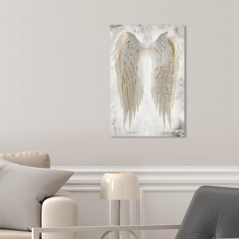 Oliver Gal 'Wings of Angel Beige' Fashion White Wall Art Canvas