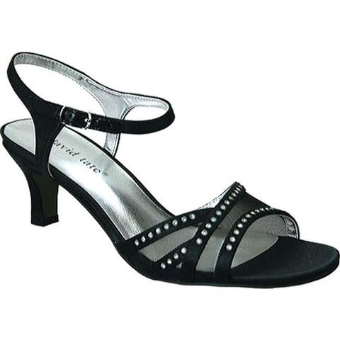 David Tate Women's Violet Ankle Strap Sandal Black Satin