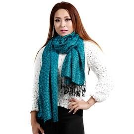 "Jacquard Knit Pashmina Wool Silk Fashion Wrap Scarf, 27""x70"", Turquoise"