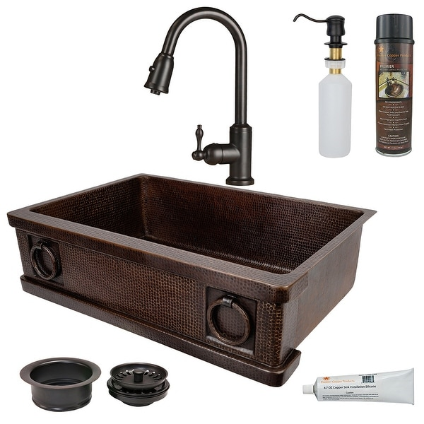 Premier Copper Products KSP2_KASDB33229R Kitchen Sink, Pull Down Faucet and Accessories Package. Opens flyout.