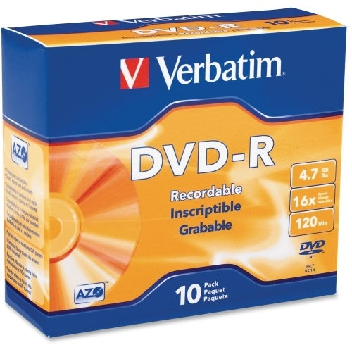 """Verbatim 95099 Verbatim AZO DVD-R 4.7GB 16X with Branded Surface - 10pk Slim Case - 2 Hour Maximum Recording Time"""