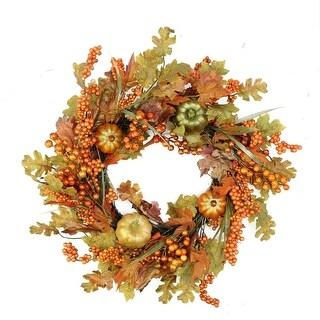 "22"" Autumn Harvest Decorative Artificial Fall Leaves, Pumpkins and Berries Wreath - Unlit"