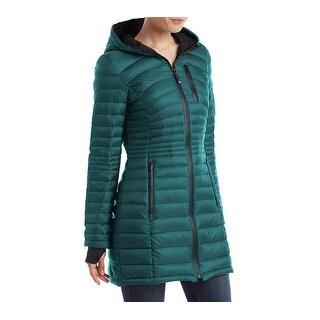 HFX Halifax Womens Teal Down Packable Coat Hooded