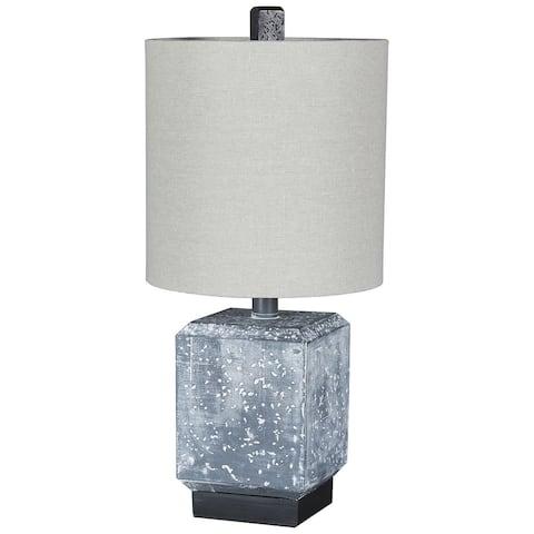 "Jamila Contemporary Gray/Black Faux Concrete Table Lamp - 9""W x 9""D x 19""H"