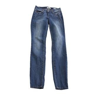Vintage America Blue Embellished Embroidered Skinny Jeans