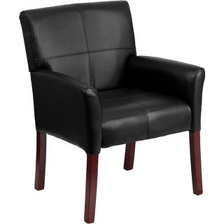 Silkeborg Black Leather Executive Side Reception/Guest Chair w/Mahogany Legs
