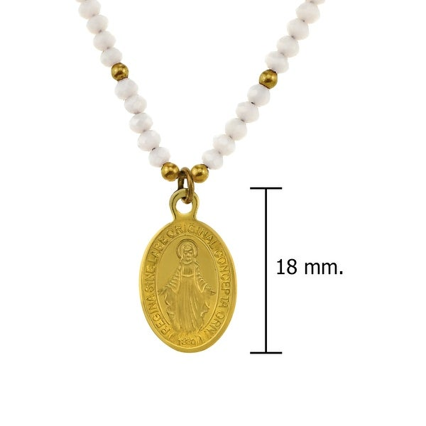 Handmade Blessed Regina Sine Miraculous Medal Crystals and Brass Beads Necklace (Thailand)