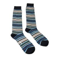 Missoni GM00CMU5234 0003 Turquoise/Cream Striped Knee Length Socks - M