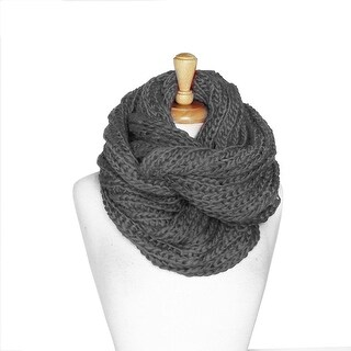 Womens Thick Knit Winter Infinity Circle Loop Scarf - Gray