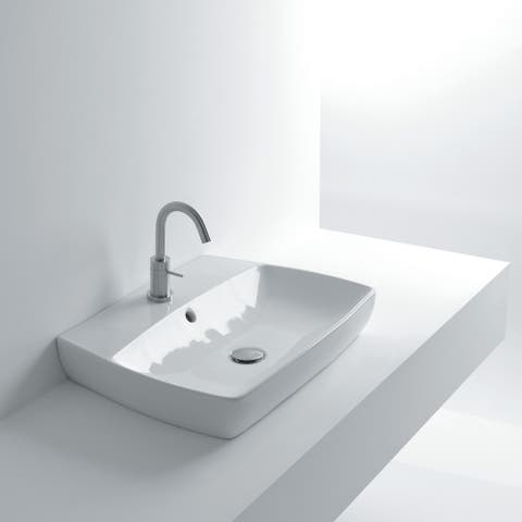 """WS Bath Collections H10 60R 23-7/16"""" Ceramic Vessel / Wall Mounted - White"""