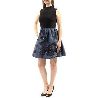 ADRIANNA PAPELL $259 Womens 1509 Black Sequined Beaded Sleeveless Dress 8 B+B