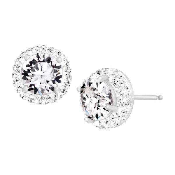 Crystaluxe April Earrings with White Swarovski Crystals in Sterling Silver