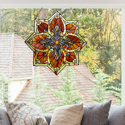 """River of Goods 24""""H Grand Halston Stained Glass Window Panel"""