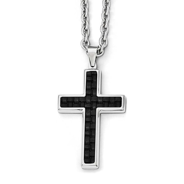 Chisel Stainless Steel Polished Leather Inlay Cross Necklace - 24 in