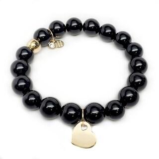 "Black Onyx Heart Gold Charm Emma 7"" Bracelet"