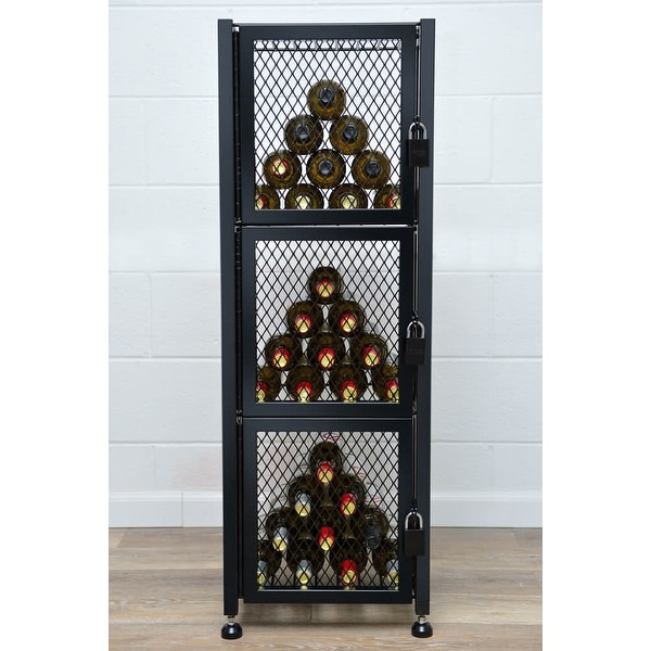 VintageView CC-LOCKER-S-K Case and Crate 48 Bottle Capacity 3-1/2 Foot Tall Free Standing Wine Locker with Lockable Doors