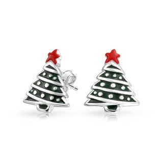 Bling Jewelry Enamel Kids Christmas Tree Stud earrings 925 Sterling Silver 11mm