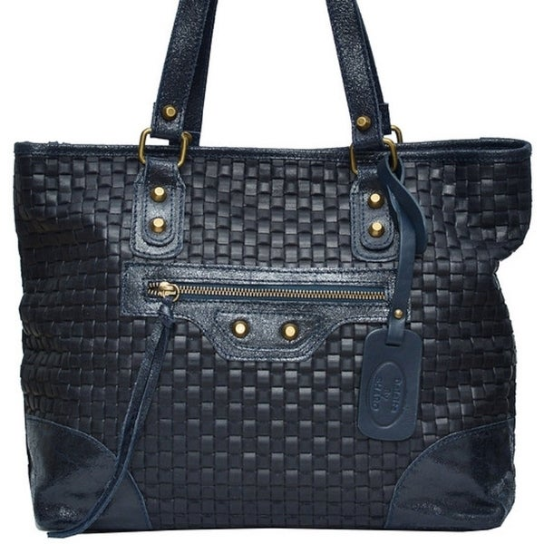 bd9876eec78 Shop SHARO Deleite 12 Navy Blue Italian Leather weave pattern tote ...