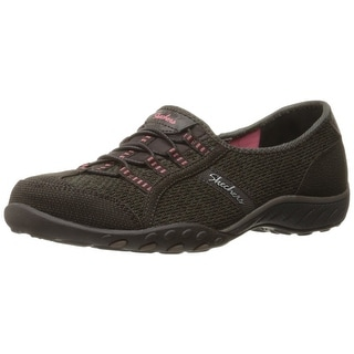 Skechers Sport Women's Breathe Easy Save The Day Fashion Sneaker, Chocolate/Taupe Mesh/Brown/Coral Trim