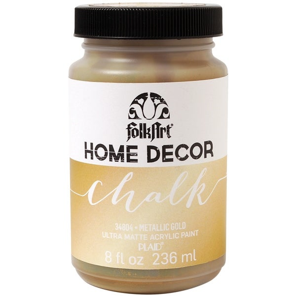 FolkArt Home Decor Chalk Finish Paint Metallic 8oz-Gold - GOLD