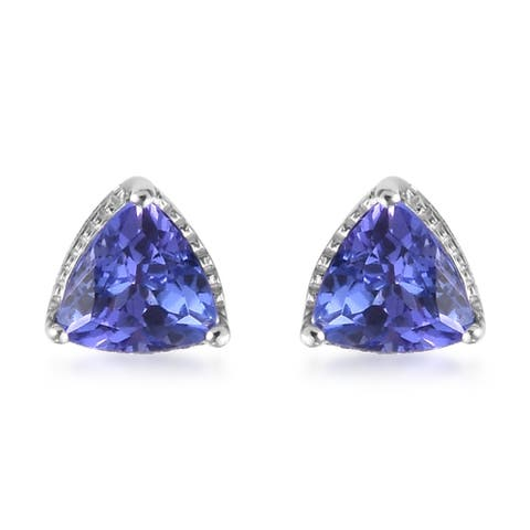 Shop LC White Gold Blue Tanzanite Stud Earrings Ct 1