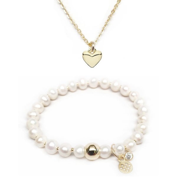 "Freshwater Pearl 7"" Bracelet & Heart Gold Charm Necklace Set"