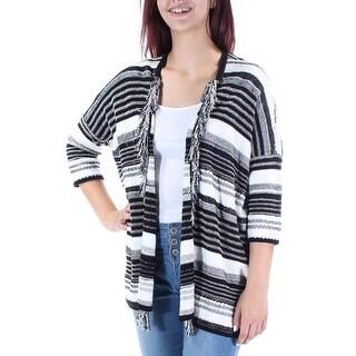 Womens Black Striped 3/4 Sleeve Open Wear To Work Sweater Size M