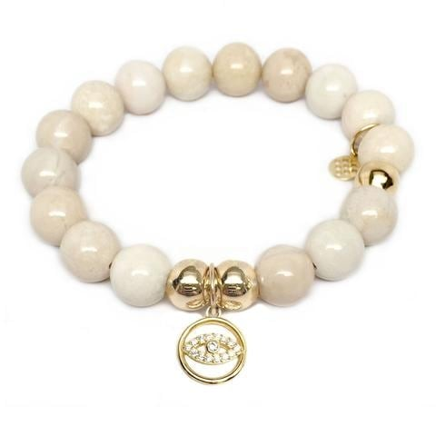 Julieta Jewelry Lucky Eye Charm Ivory Jade Bracelet