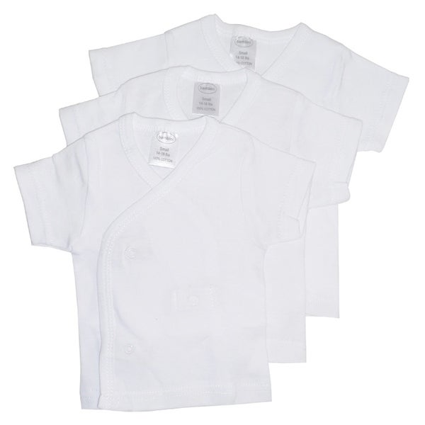 Bambini White Side Snap Short Sleeve Shirt - 3 Pack - Size - Small - Unisex
