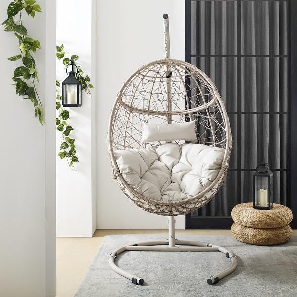 """Cleo Outdoor/ Indoor Wicker Hanging Egg Chair - 42""""W x 42""""D x 81""""H. Opens flyout."""