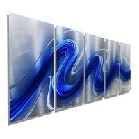 Statements2000 Silver & Blue Modern Abstract Metal Wall Art Sculpture by Jon Allen - Electric Blue